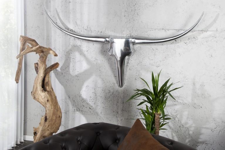 Design Accessoire BULL 125 cm XL Wanddekoration Metall-Aluminium Legierung Geweih