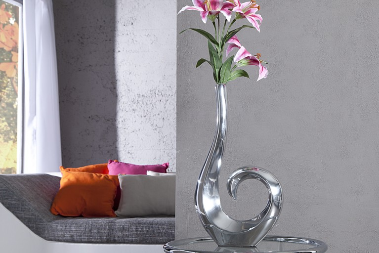 Stylische Designer Vase Wave Metall-Aluminium Legierung silber Large 50 cm