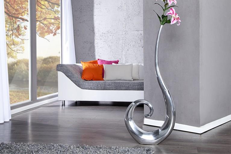 Riesige Designer Vase Wave Metall-Aluminium Legierung silber XXL 106cm