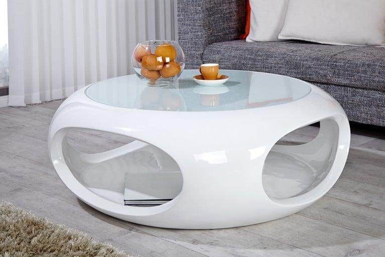 Moderner Design Couchtisch SPIN 90cm Hochglanz weiss