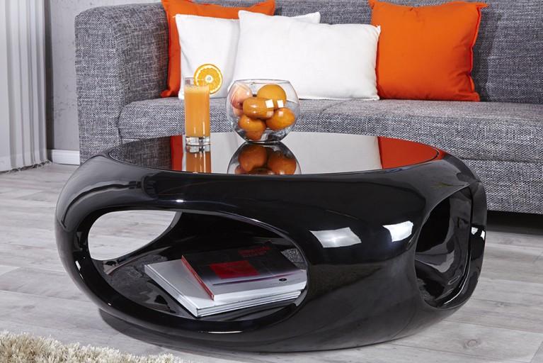 Moderner Design Couchtisch SPIN II 75 cm Hochglanz schwarz lackiert  mit Oberfläche aus kratzfestem Glas