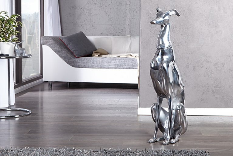 Design Skulptur GREYHOUND Metall-Aluminium Legierung 70cm Hund Figur Dekoration