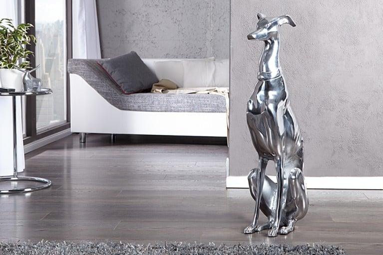 Design Skulptur GREYHOUND Metall-Aluminium Legierung 70cm Hund Figur Dekoration