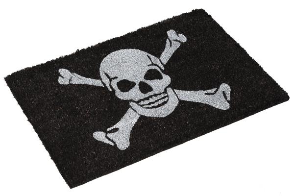 Große Design Fußmatte SKULL schwarz Kokosmatte Schmutzfangmatte