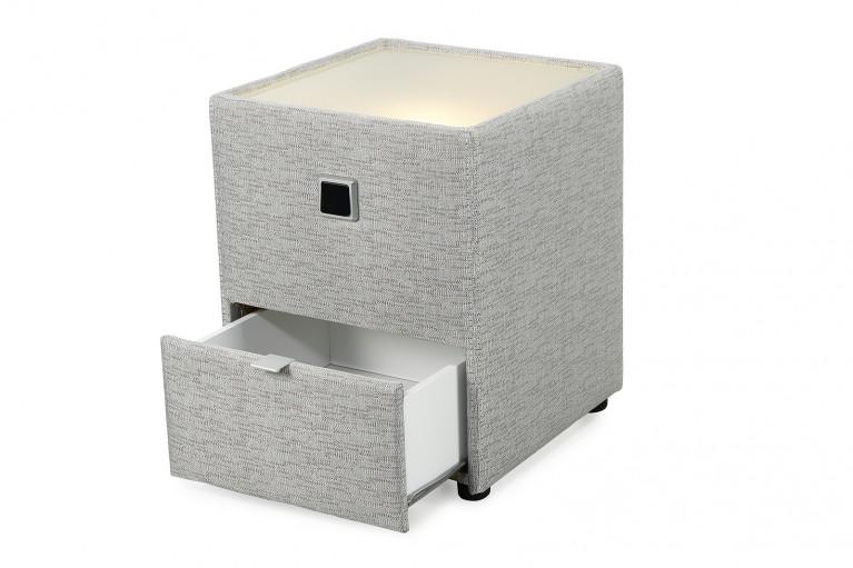 Design Nachtkommode LYON für Boxspringbetten grau beige mit indirekter Beleuchtung
