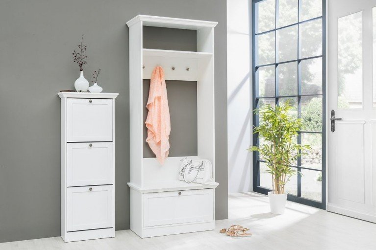 design schuhschrank supreme hochglanz weiss 3 klappen schuhkipper riess. Black Bedroom Furniture Sets. Home Design Ideas