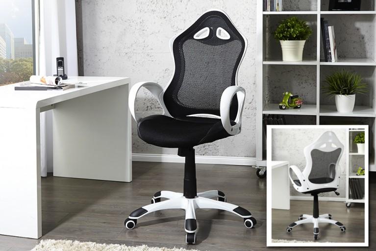 Exklusiver Design Bürostuhl CARBONIUM Chefsessel schwarz mit weiß