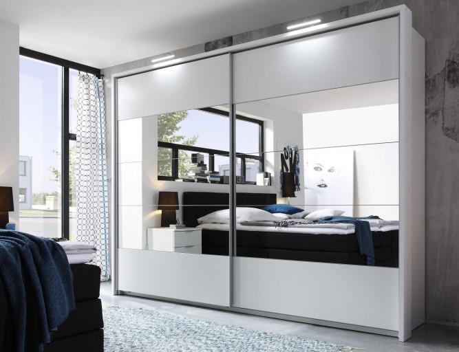 Exklusiver Design Schwebetürenschrank QUEENS XXL 270cm weiß Kleiderschrank Spiegel inkl. Zubehör