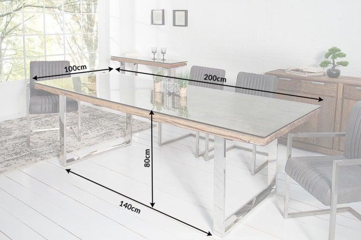 massiver esstisch barracuda antik teak holz mit stahl kufenf en 200cm inkl glasplatte riess. Black Bedroom Furniture Sets. Home Design Ideas