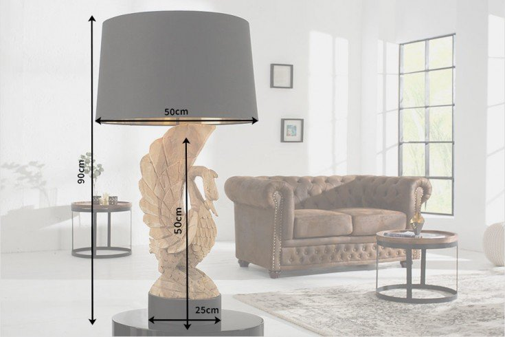 exklusive massivholz lampe swan handgeschnitzt aus akazienholz unikat riess. Black Bedroom Furniture Sets. Home Design Ideas
