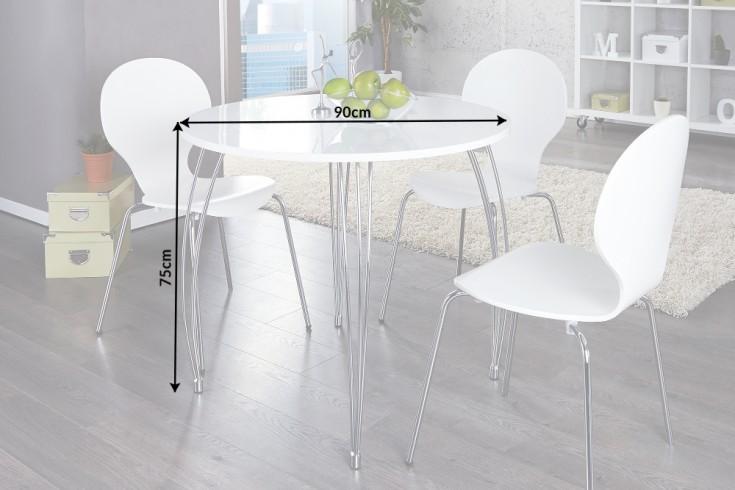 Stilvoller runder esstisch arrondi wei chrom 90cm for Kleiner konferenztisch