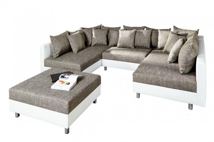 Design Sofa LOFT XXL Mit Hocker Weiß Strukturstoff Grau