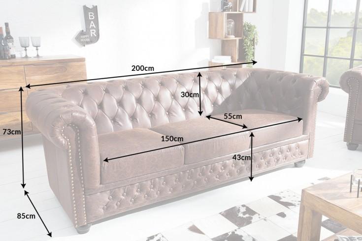 Magnificent Chesterfield 3Er Sofa 200Cm Vintage Braun Sattelleder Mit Knopfheftung Und Federkern Riess Ambiente De Interior Design Ideas Greaswefileorg