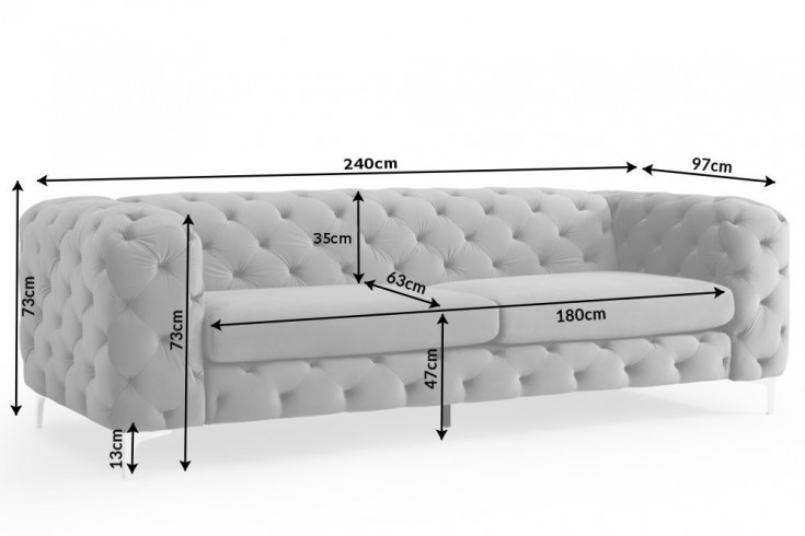 Elegantes Chesterfield 3er Sofa MODERN BAROCK 240cm grau Samt |  Riess-Ambiente.de