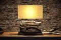 Design Treibholz Lampe PERIFERE Leinen Schirm Tischlampe Handarbeit und mit echtem Leinenschirm