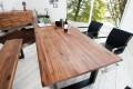 Massiver Baumstamm Tisch GENESIS 200cm Akazie Massivholz Baumkante Esstisch mit Kufengestell
