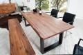 Massiver Baumstamm Tisch GENESIS 180cm Akazie Massivholz Baumkante Esstisch mit Kufengestell