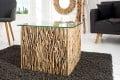 Exklusiver Treibholz Couchtisch FOSSIL Teak Elemente in Handarbeit gefertigt mit Glasplatte