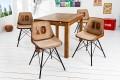 4er Set Design Stuhl RUGBY braun mit Echtleder Bezug