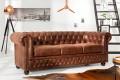 Hochwertiges Chesterfield Sofa 3-Sitzer vintage braun echtes Sattelleder