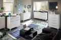 Moderne Design Sideboard KOPENHAGEN 160cm weiss Hochglanzfront Retro - Look