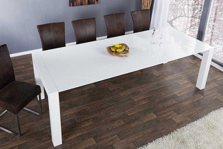 ausziehbarer design esstisch x7 wei hochglanz 180 220 cm 260 cm riess. Black Bedroom Furniture Sets. Home Design Ideas