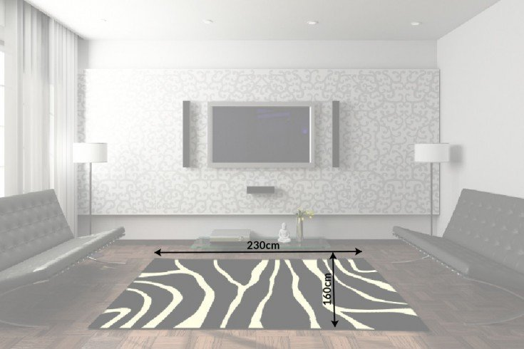 dekorativer design teppich zebra 160x230cm riess. Black Bedroom Furniture Sets. Home Design Ideas