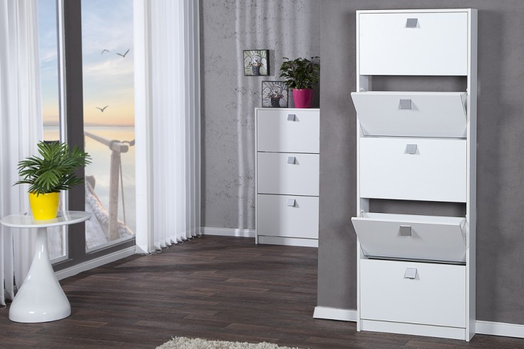 design schuhkipper merano xxl edelmatt wei 5 klappen schuhschrank riess. Black Bedroom Furniture Sets. Home Design Ideas
