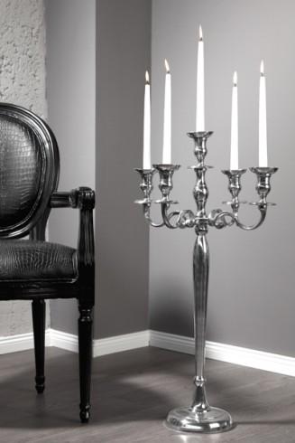 gro er barock kerzenst nder 5 armig l ster 80cm metall aluminium legierung poliert. Black Bedroom Furniture Sets. Home Design Ideas