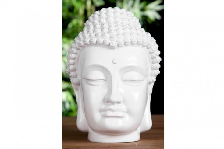 Design buddha kopf hochglanz wei skulptur deko accessoire Buddha kopf deko