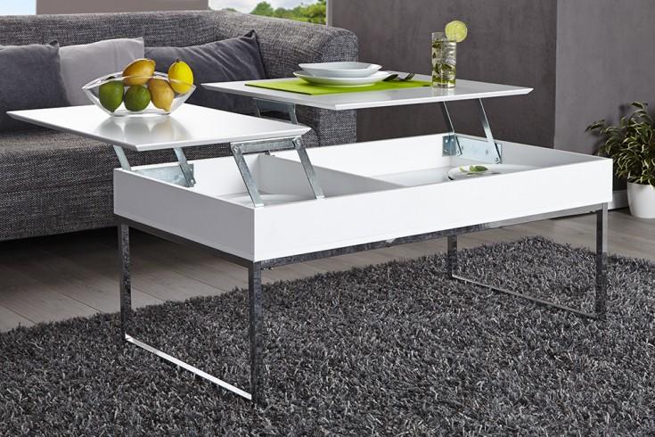 Funktionaler Design Couchtisch Fabric 110cm Weiss Chrom Riess Ambiente De