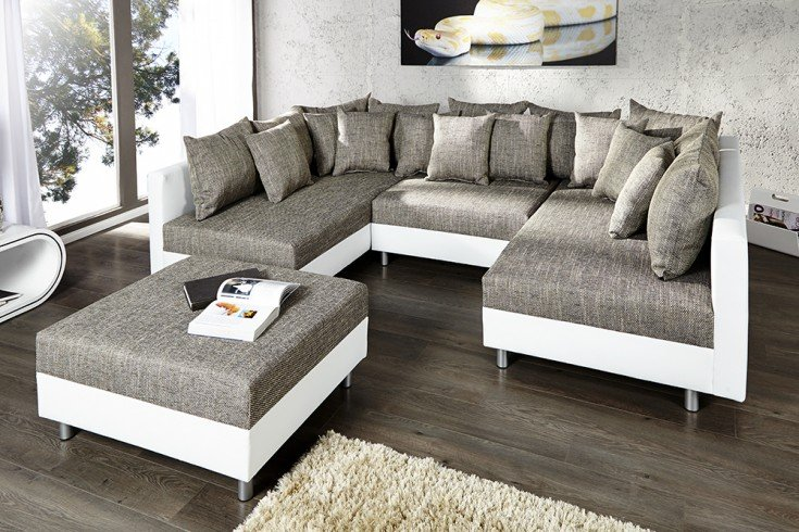 Design Sofa Loft Xxl Mit Hocker Wei 223 Strukturstoff Grau