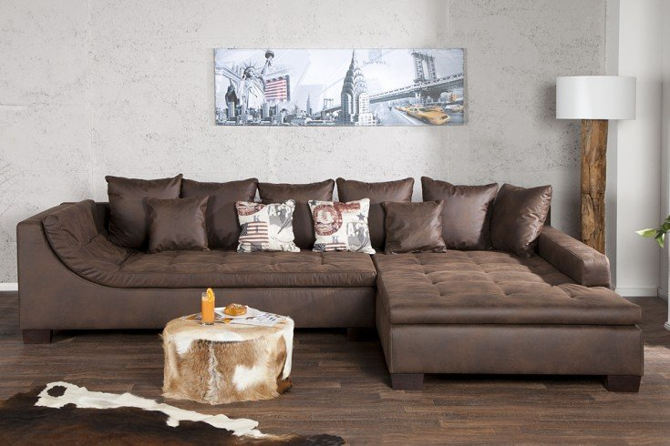 exclusive wohnlandschaft mombasa braun antik ecksofa riess. Black Bedroom Furniture Sets. Home Design Ideas