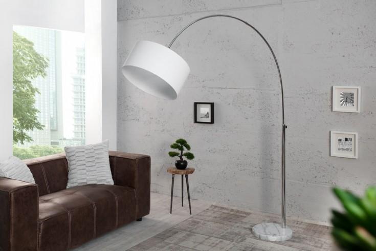 design bogenleuchte lounge deal classic mit wei em natur leinen schirm ausziehbar riess. Black Bedroom Furniture Sets. Home Design Ideas