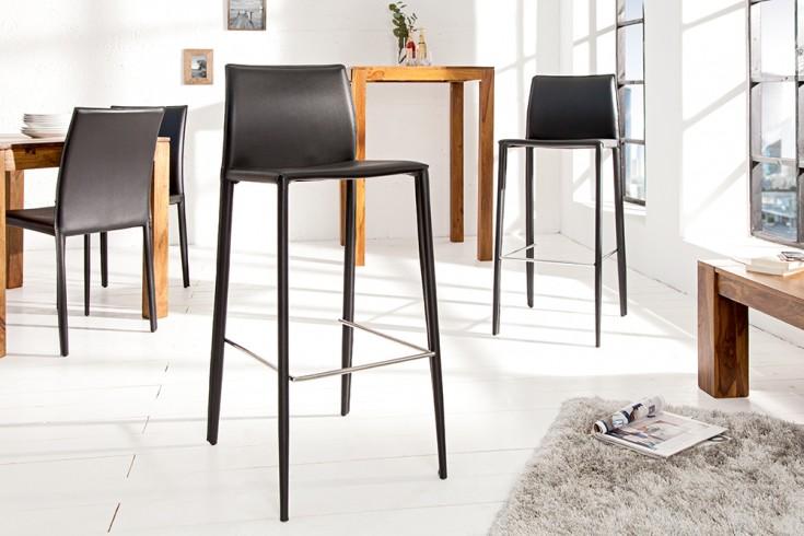 Exklusiver design barstuhl milano echt leder schwarz for Design stuhl milano echtleder