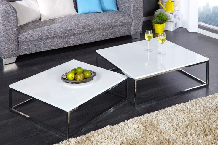 design couchtisch 2er set big fusion hochglanz wei chrom. Black Bedroom Furniture Sets. Home Design Ideas