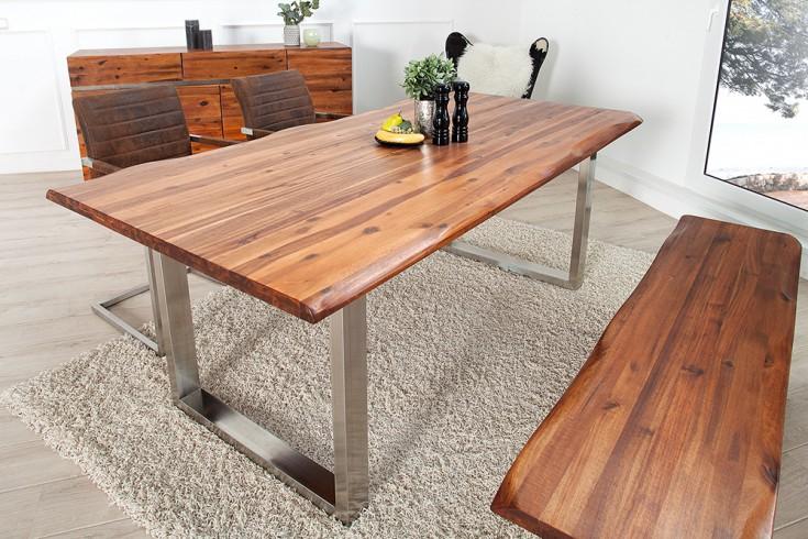 Massiver Baumstamm Tisch GENESIS 200cm Akazie Massivholz Baumkante ...