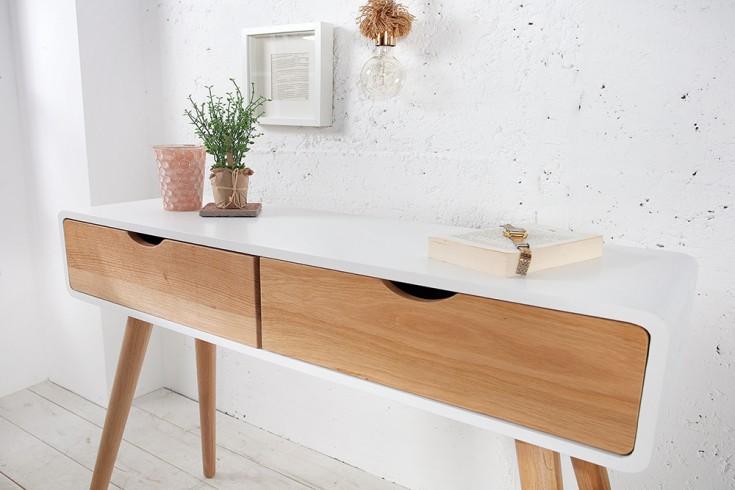 design retro konsole scandinavia wei eiche 100cm schreibtisch mit 2 schubladen sekret r riess. Black Bedroom Furniture Sets. Home Design Ideas
