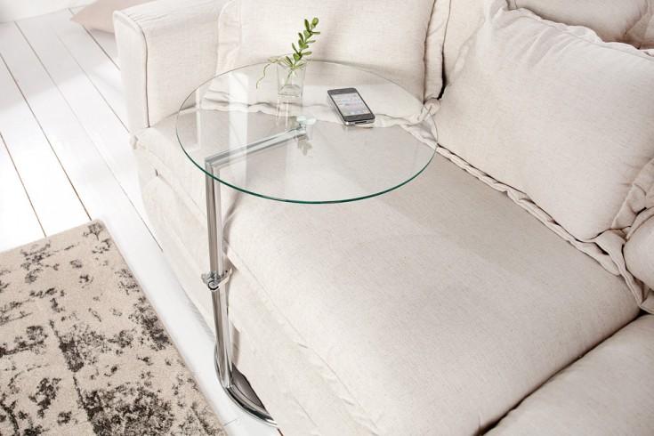 Art Deco Beistelltisch Effect 45cm Chrom Glas Höhenverstellbar