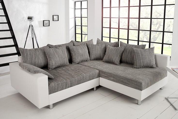 Design Ecksofa Mit Hocker Loft 220cm Weiss Strukturstoff Grau