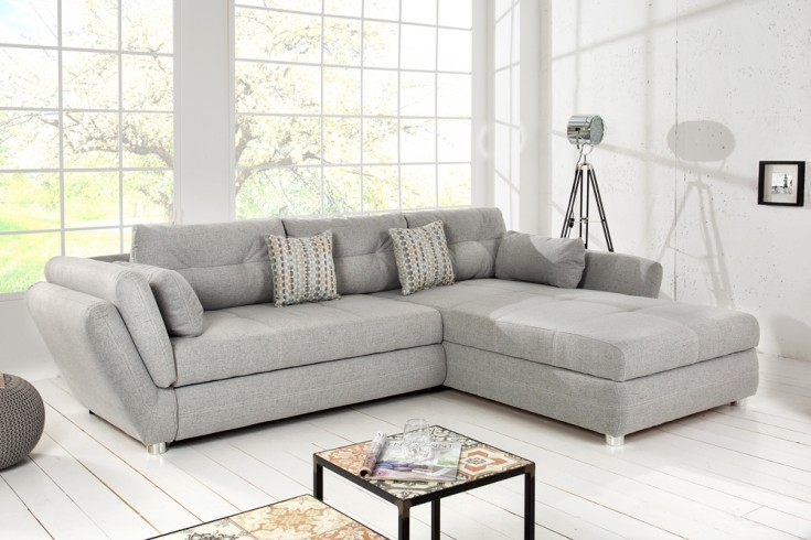 moderne wohnlandschaft vice hellgrau mit schlaffunktion und bettkasten hochwertiger. Black Bedroom Furniture Sets. Home Design Ideas