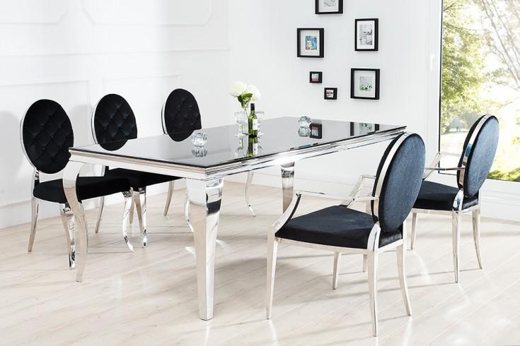 modern barock armlehnenstuhl symbiose aus edelstahl und hochwertigstem schwarzen samt mit. Black Bedroom Furniture Sets. Home Design Ideas