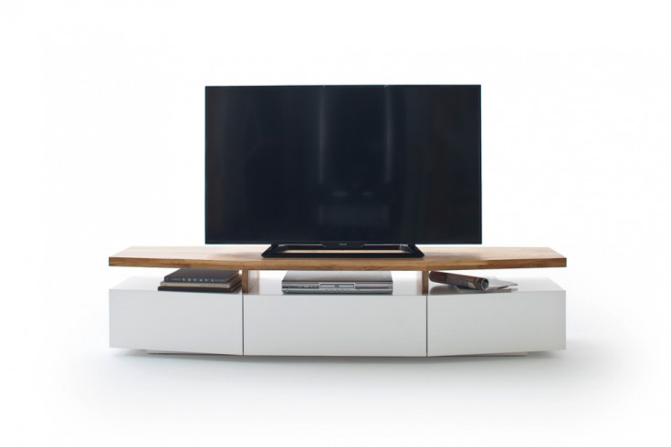 design tv lowboard sophie 180 cm edelmatt wei asteiche massiv riess. Black Bedroom Furniture Sets. Home Design Ideas