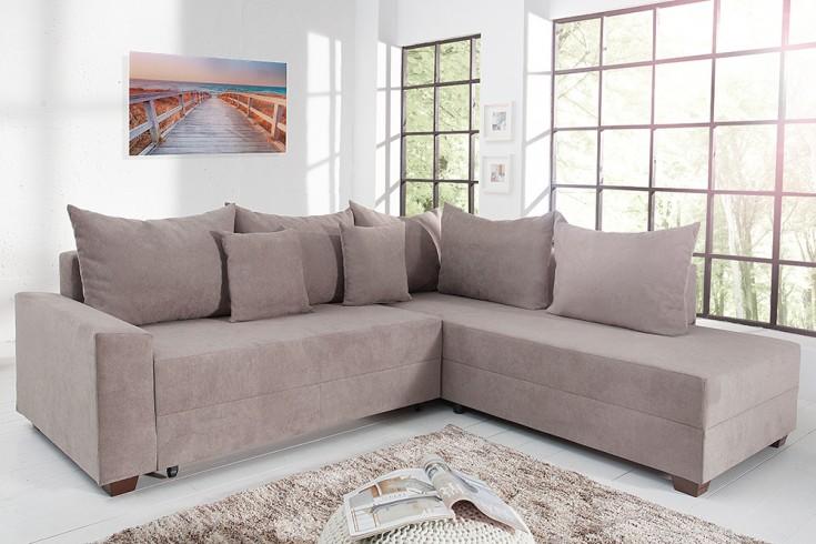 design ecksofa apartment soft baumwolle greige federkern sofa schlaffunktion riess. Black Bedroom Furniture Sets. Home Design Ideas