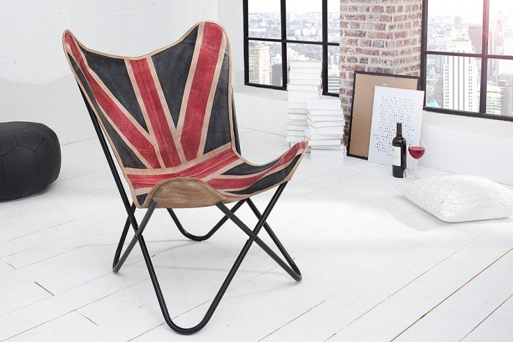 Designklassiker lounge sessel butterfly union jack for Sessel union jack