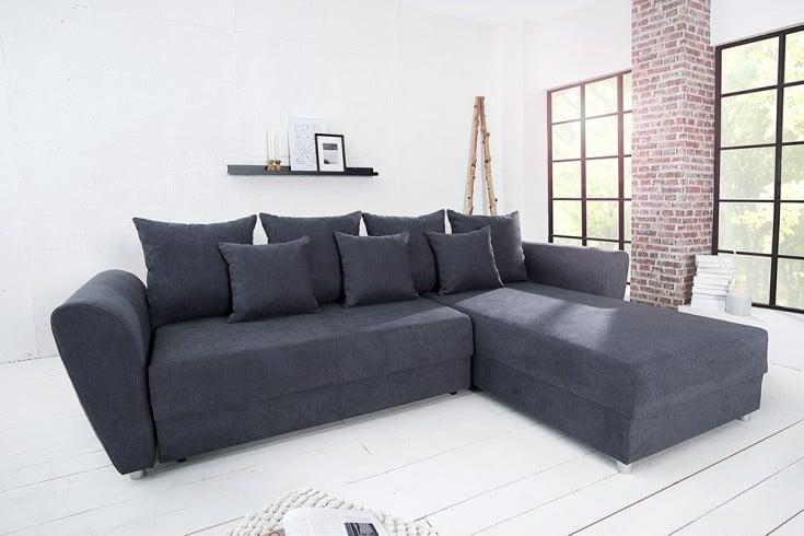 modernes ecksofa palma grau soft baumwolle federkern. Black Bedroom Furniture Sets. Home Design Ideas