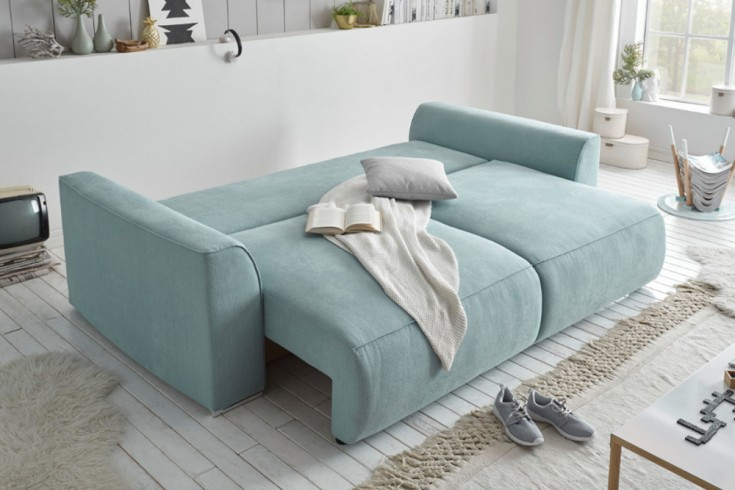 Modernes Design Big Sofa Weekend Aquamarin Schlaffunktion Mit Bettkasten Und Kissen Riess