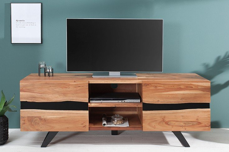 imposantes tv board amazonas 160cm akazie metall schwarz. Black Bedroom Furniture Sets. Home Design Ideas