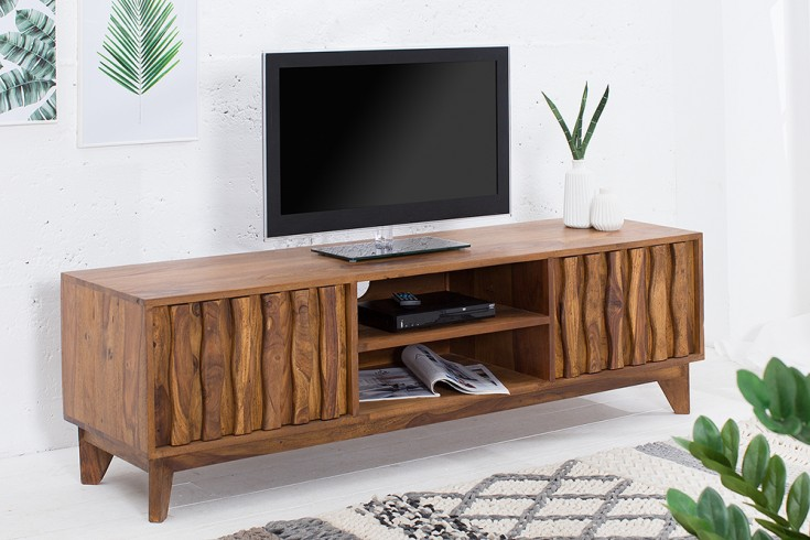 Design tv board retro 145cm sheesham stone finish design for Lowboard design klassiker