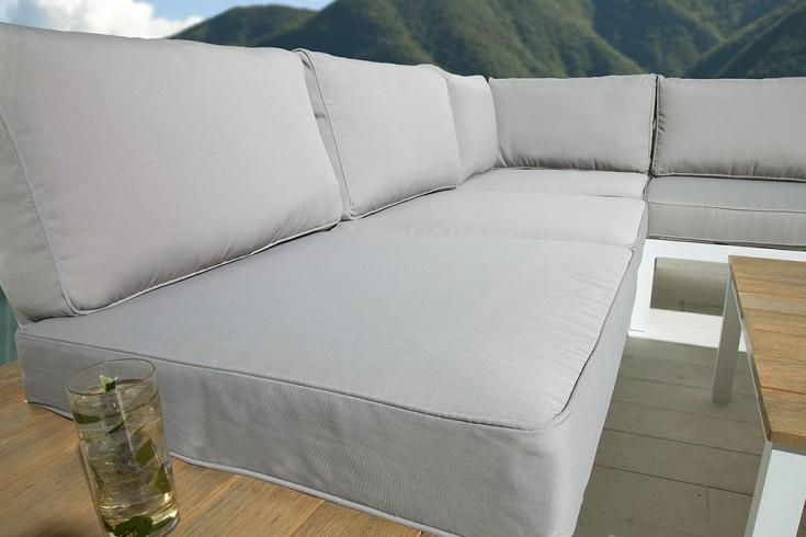 gro e garten sitzgruppe miami lounge wei grau gartenm bel inkl tisch und kissen riess. Black Bedroom Furniture Sets. Home Design Ideas